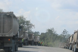coal truck lineup at MGM mine