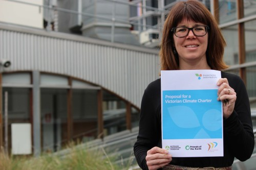 Felicity Millner with climate charter document